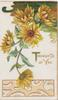THOUGHTS OF YOU in gilt below yellow daisies, perforated yellow design at base
