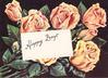 HAPPY DAYS on white inset, orange roses on black background