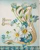 HAPPY DAYS in gilt left of blue forget-me-nots &  white daisies in perforated gilt design, blue-tit flies