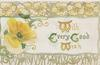 WITH EVERY GOOD WISH(W,E,G & W illuminated) on white plaque, yellow poppy left, floral design above & below