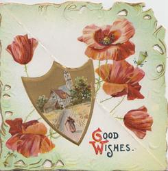 GOOD WISHES (G & W illuminated) below shield shaped rural inset of woman walking toward church, 5 red poppies around, green marginal design