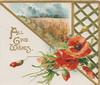 ALL GOOD WISHES(A,G & W illuminated) below inset of wheat, red poppies below, perforated design right