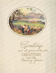 GREETINGS AND ALL GOOD WISHES FOR CHRISTMAS AND THE COMING YEAR couple, wooden fence, water & mountains