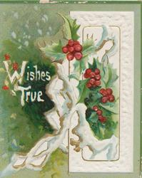 WISHES TRUE in white, holly in front of white window design, green background
