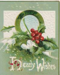 HEARTY WISHES in white, holly, snow & circular plaque in front of white inset, green background