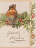 HEARTY WISHES in gilt, robin perched on sprig of holly in front of gilt plaque, holly on right flap