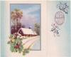 BEST WISHES in silvered oval & holly, inset view of cabin along snowy road with silvered border & holly