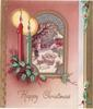 HAPPY CHRISTMAS green & red candles with holly left of perforated window, inset view of sheep on snowy road