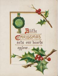 BLITHE CHRISTMAS(B & C illuminated) with green seal, holly above & below