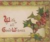 WITH ALL GOOD WISHES(W,G & W illuminated) on yellow/white plaque holly front right