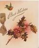 BEST WISHES in gilt above bronzed holly & printed ribbon, robin flies