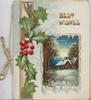 BEST WISHES in gilt above winter rural inset ,holly & perforated design left