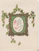 HEARTY GOOD WISHES(H,G & W illuminated) on gilt & green bordered white plaque, holly around, white corner designs
