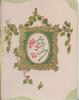 HEARTY GOOD WISHES(H,G & W illuminated) on gilt & green bordered white plaque, holly around, green corner designs
