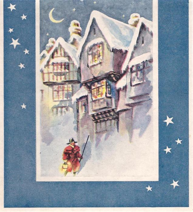 no front title, blue border with stars, man in red uniform & black hat walks in front of snow covered houses, night sky