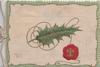 no front title, red seal & holly leaf on cream plaque, green marginal design