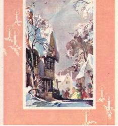 no front title, peach border with candles, snowy village scene with buildings, trees & townspeople