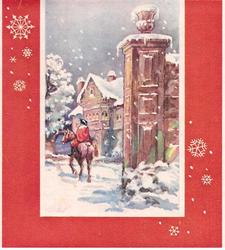 no front title, red border with snowflakes, rear view of man on horseback, house right, prominent pillar front, snow