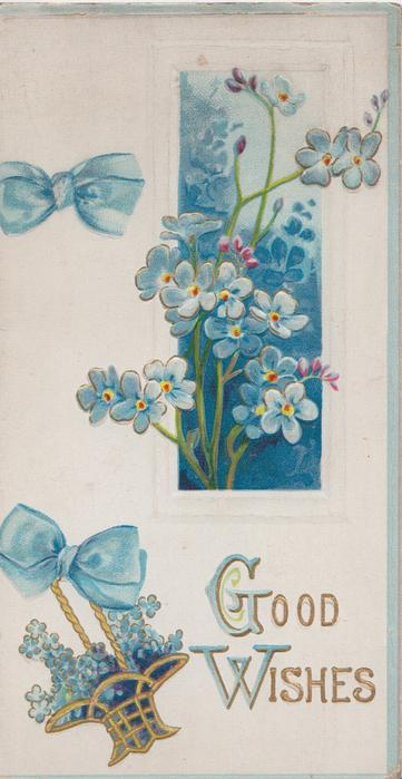 GOOD WISHES in gilt(G &W illuminated), blue forget-me-nots in window & in wicker basket, blue bows