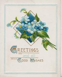 GREETINGS AND ALL GOOD WISHES(G,G,&W illuminated) in gilt below blue forget-me-nots in green squared design