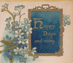 HAPPY DAYS AND MANY in gilt on deep blue gilt bordered plaque blue forget-me-nots above & below