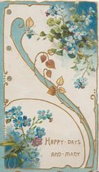 HAPPY DAYS AND MANY in gilt below scattered blue forget-me nots & complex gilt  & blue design