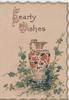 HEARTY WISHES (H & W illuminated) above ornate vase standing in blue forget-me nots