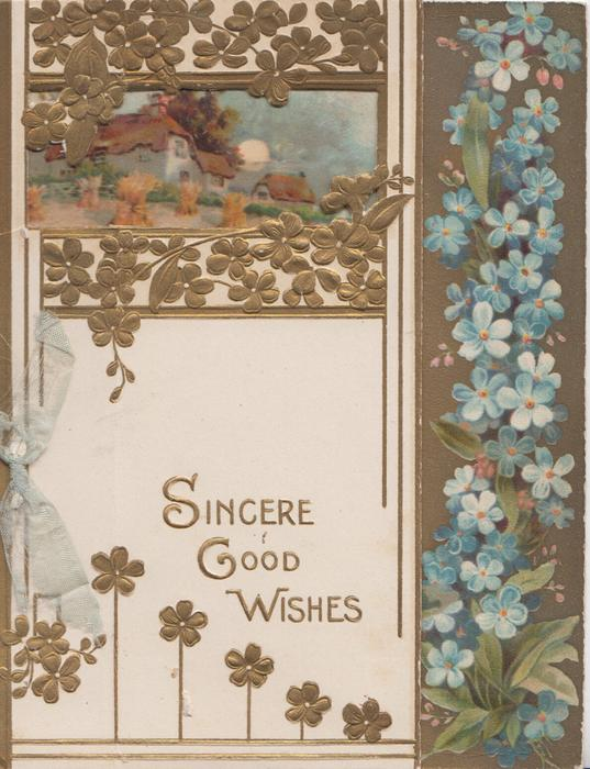 SINCERE GOOD WISHES in gilt on white plaque below stylised floral perforated design, forget-me nots right
