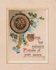 XMAS on seal above forget-me-nots  & TIME BUT ENDEARS FRIENDS OF PAST YEARS on plaque