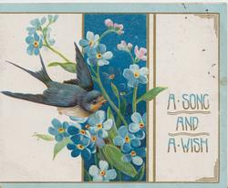 A SONG AND A WISH right, forget-me-nots central & blue-bird of happiness left
