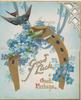 GOOD LUCK  & GOOD FORTUNE blue-bird of happiness flies over blue forget-me-nots  & over gilt horse-shoe