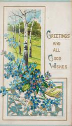 GREETINGS AND ALL GOOD WISHES above right, rural inset with perforated forget-me-nots below siver birch trees