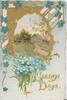 GOLDEN DAYS(G & D illuminated) below forget-me-nots & perforated gilt bordered oval rural inset