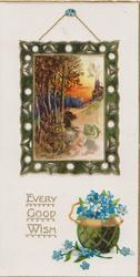 EVERY GOOD WISH in gilt beside pot of forget-me-nots, all below wall-hanging of rural scenel