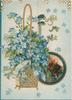 FORGET-ME-NOT in gilt above circular rural inset, forget-me-nots in basket on left flap light blue background