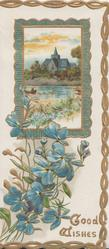 GOOD WISHES in gilt below forget-me-nots under gilt bordered rural inset, marginal gilt design