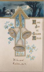 RING JOY YE GOLDEN BELLS(letters illuminated) 3 bells hang in front of forget-me-nots on arrow design, night rural design above