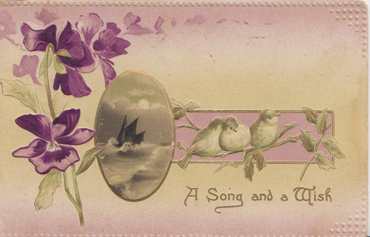 A SONG AND A WISH below oval seascape & perched birds on pale purple plaque, purple pansies left, pale purple/yellow background