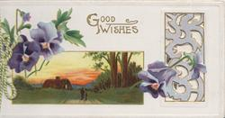 GOOD WISHES in gilt above rural inset, purple pansies left, perforated design right