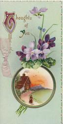 THOUGHTS OF YOU(T&Y illuminated) purple pansies above rural inset, pale green background