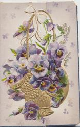 no front title purple & white pansies in gilt basket, THOUGHTS OF YOU above head & shoulders of girl in blue inset