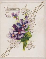 THOUGHTS OF YOU in gilt above purple/white pansies