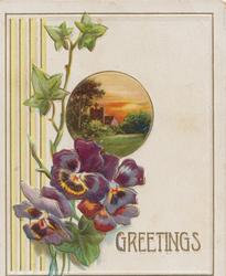 GREETINGS in gilt below purple/orange pansies below circular rural inset, ivy