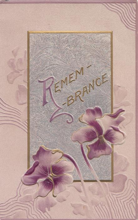 REMEMBRANCE(R illuminated)in gilt on purple plaque, purple/white pansies below, 3 gilt borders