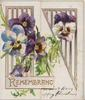 REMEMBRANCE in gilt on pale pink plaque at base white/ purple pansies in front of perforated design across both flaps