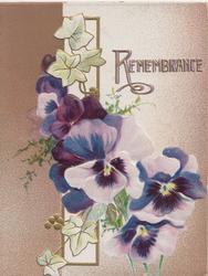 REMEMBRANCE in gilt above white/purple pansies in front of stylised ivy & white window