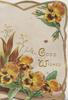 GOOD WISHES in gilt, orange/purple/yellow pansies marginal gilt edge design on 3 sides