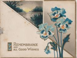 REMEMBRANCE AND ALL GOOD WISHES below triangular watery rural inset, blue pansies right