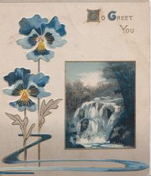TO GREET YOU(T&G illuminated) blue pansies left,  rural waterfall inset right