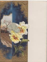 JOY WING THE HOURS yellow/orange pansies on flap over rural scene, bluebird visible when flap lifted